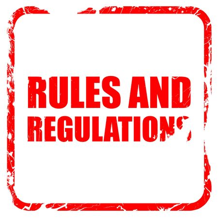 constraint: rules and regulations, red rubber stamp with grunge edges Stock Photo