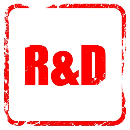 rd: r&d, red rubber stamp with grunge edges