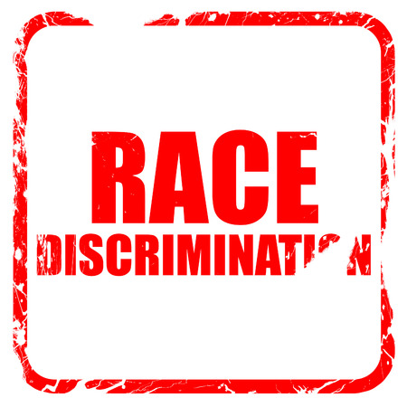 outsider: race discrimination, red rubber stamp with grunge edges
