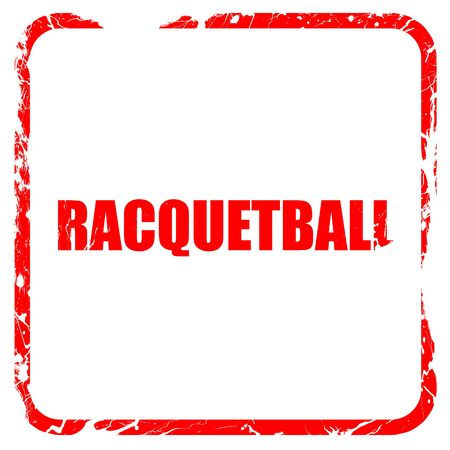 Raquet: raquetball, red rubber stamp with grunge edges