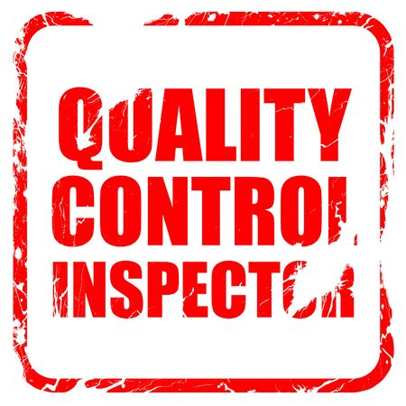 engineering clipboard: quality control inspector, red rubber stamp with grunge edges Stock Photo