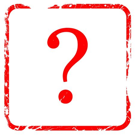 isolated on red: question mark, red rubber stamp with grunge edges