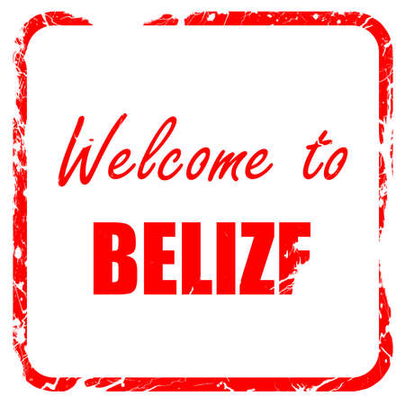 tourism in belize: Welcome to belize card with some soft highlights, red rubber stamp with grunge edges Stock Photo