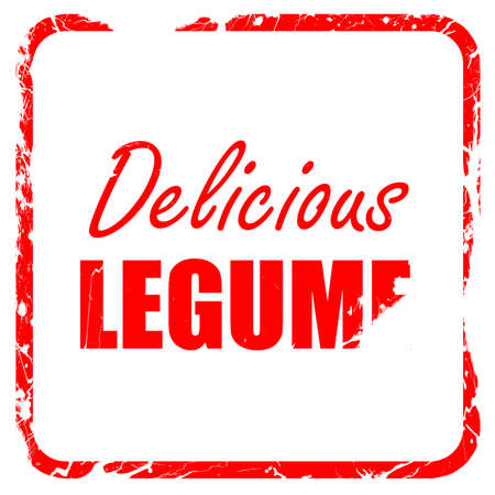 legume: Delicious legume sign with some soft smooth lines, red rubber stamp with grunge edges