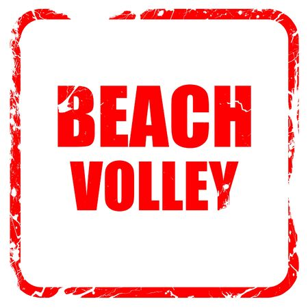 beach volley: beach volley sign with some soft smooth lines, red rubber stamp with grunge edges