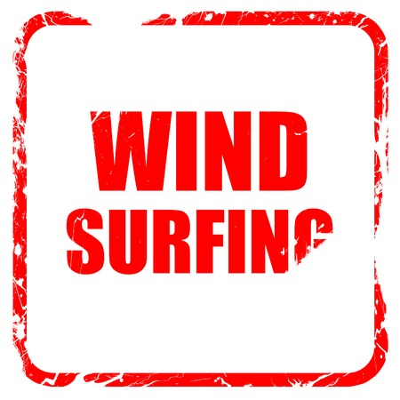 wind surfing: wind surfing sign background with some soft smooth lines, red rubber stamp with grunge edges Stock Photo