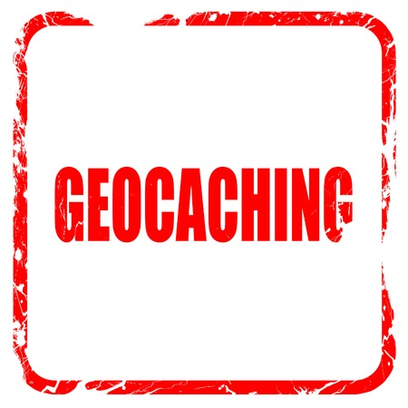 caching: geocaching sign background with some soft smooth lines, red rubber stamp with grunge edges