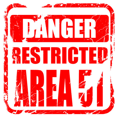 no pase: area 51 sign with some soft flowing lines, red rubber stamp with grunge edges