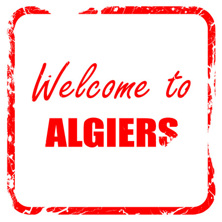 algiers: Welcome to algiers with some smooth lines, red rubber stamp with grunge edges