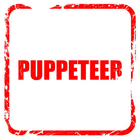 puppeteer: puppeteer, red rubber stamp with grunge edges