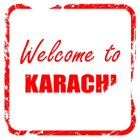 karachi: Welcome to karachi with some smooth lines, red rubber stamp with grunge edges