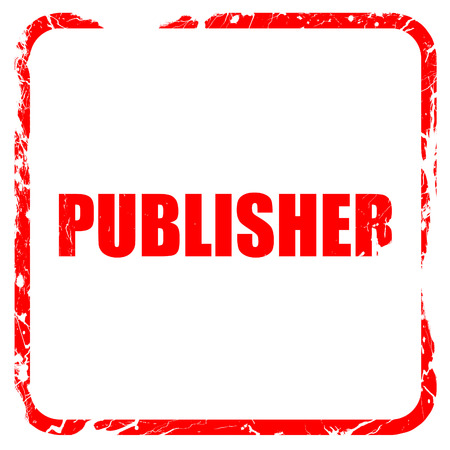 the publisher: publisher, red rubber stamp with grunge edges