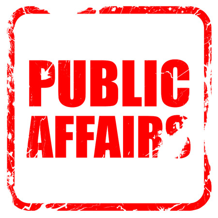 public welfare: public affairs, red rubber stamp with grunge edges