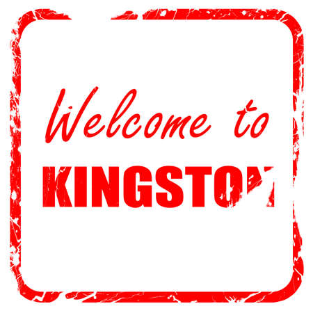 kingston: Welcome to kingston with some smooth lines, red rubber stamp with grunge edges