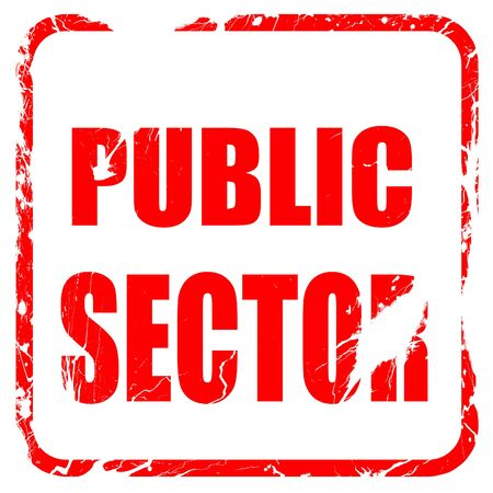 sector: public sector, red rubber stamp with grunge edges