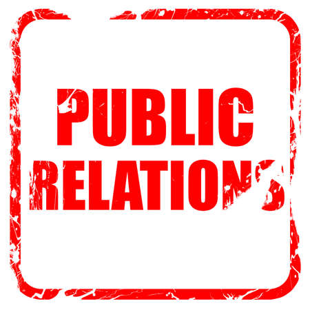public relations: public relations, red rubber stamp with grunge edges