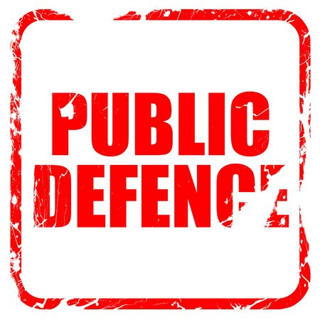 make public: public defence, red rubber stamp with grunge edges