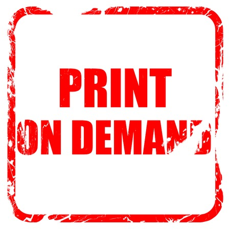 print on demand, red rubber stamp with grunge edges Stock Photo