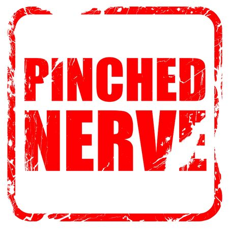 pinched: pinched nerve, red rubber stamp with grunge edges Stock Photo