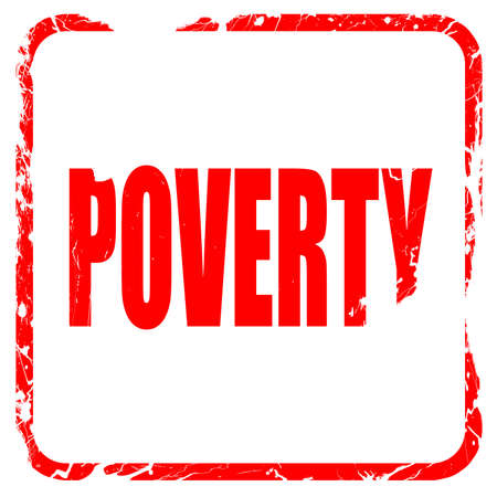 Poverty Recession sign background with some smooth lines, red rubber stamp with grunge edges Stock Photo