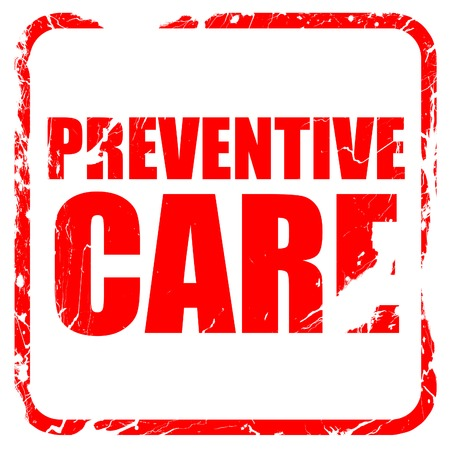 preventive: preventive care, red rubber stamp with grunge edges