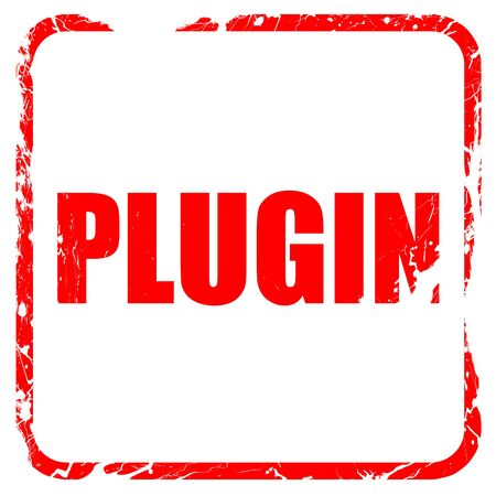 plugin: plugin, red rubber stamp with grunge edges