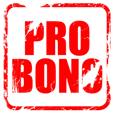 bono: pro bono, red rubber stamp with grunge edges