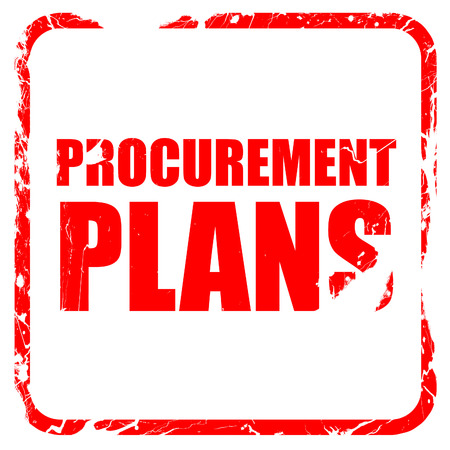 procure: procurement plans, red rubber stamp with grunge edges