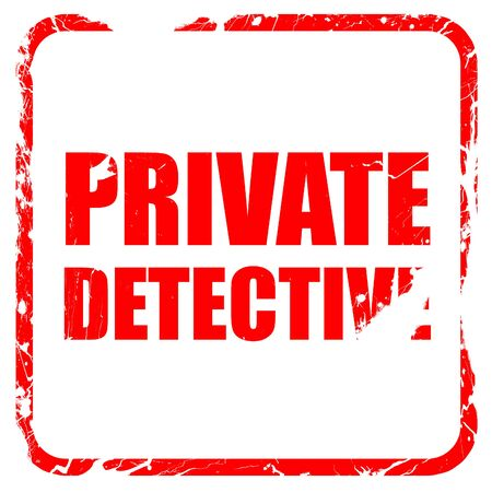 private detective: private detective, red rubber stamp with grunge edges