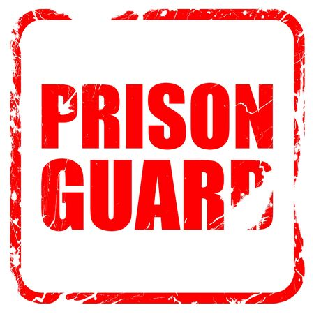 correctional officer: prison guard, red rubber stamp with grunge edges