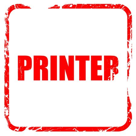 scaner: printer, red rubber stamp with grunge edges Stock Photo