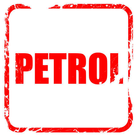 petrol, red rubber stamp with grunge edges