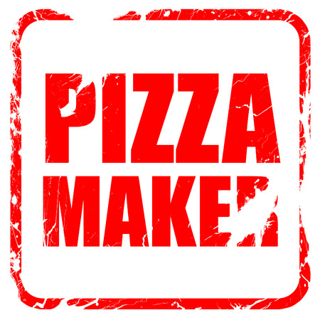 pizza maker: pizza maker, red rubber stamp with grunge edges Stock Photo