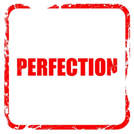 perfection: perfection, red rubber stamp with grunge edges