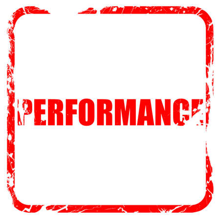 rating meter: performance, red rubber stamp with grunge edges