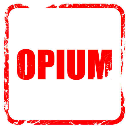 opiate: opium, red rubber stamp with grunge edges