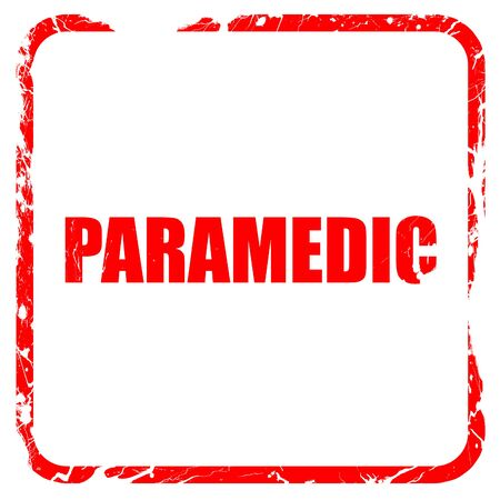 paramedic: paramedic, red rubber stamp with grunge edges