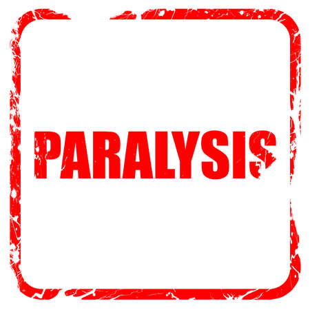 paralysis, red rubber stamp with grunge edges