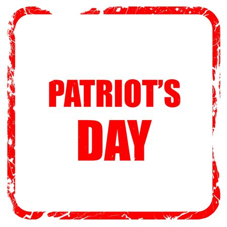 patriots: patriots day, red rubber stamp with grunge edges