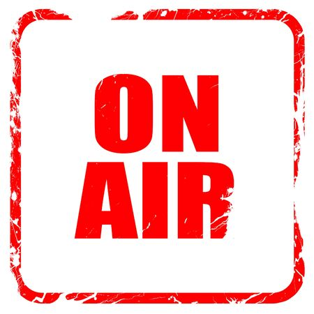 live stream radio: on air, red rubber stamp with grunge edges Stock Photo