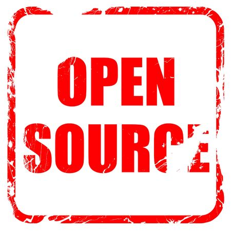 open source: open source, red rubber stamp with grunge edges