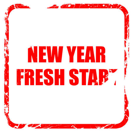 start fresh: new year fresh start, red rubber stamp with grunge edges Stock Photo