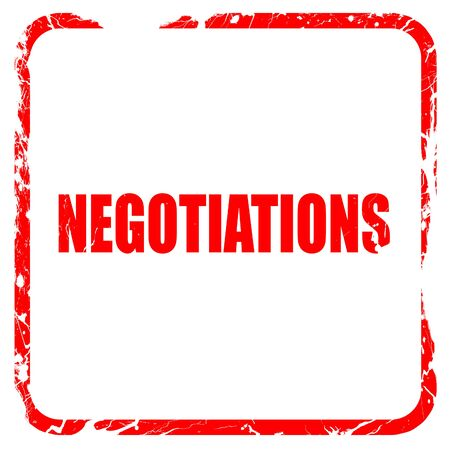 deliberations: negotiations, red rubber stamp with grunge edges