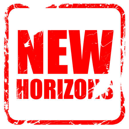 new horizons: new horizons, red rubber stamp with grunge edges Stock Photo