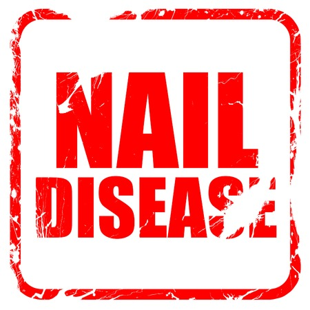 fungal: nail disease, red rubber stamp with grunge edges