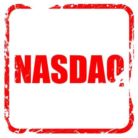 nasdaq: nasdaq, red rubber stamp with grunge edges