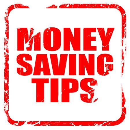 saving tips: money saving tips, red rubber stamp with grunge edges