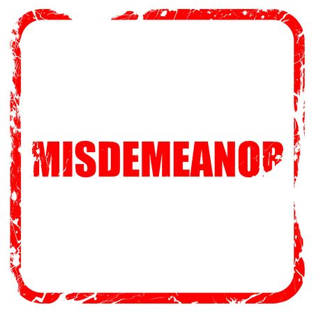 circumstantial: misdemeanor, red rubber stamp with grunge edges