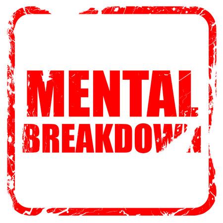 the psyche: colapso mental, sello de goma de color rojo con bordes grunge