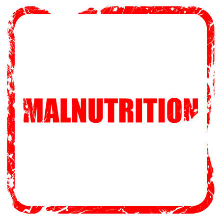 malnutrition: malnutrition, red rubber stamp with grunge edges